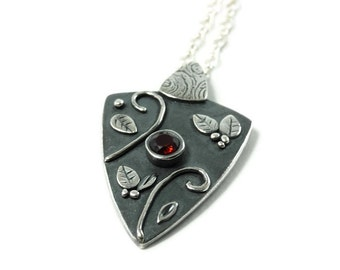Silver & Garnet Talisman Necklace As Seen on The Vampire Diaries Episodes 413, 414, and 415