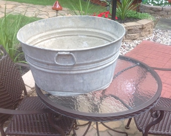Round Galvanized Metal Wash Tub Bucket Rustic Wedding Decor