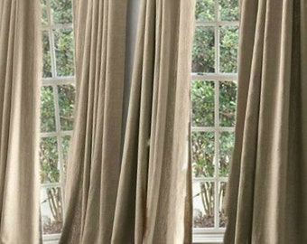 Beautiful Oatmeal Linen Curtains 4 Panels with Bronze Grommets 48x96""