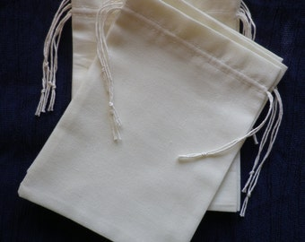 10 pcs Drawstring White Cotton Bags, Cotton Party Favor Bags, Bags Armrest and Storage , Soap Bags, Great for Bridal Showers, 6 x 7 inch