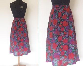 1980s Dark Floral Midi Skirt