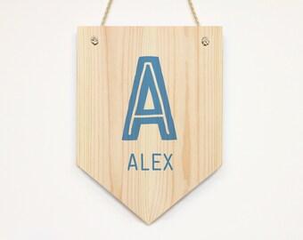 Personalized Wooden Name Banner Kids Pennant Door Sign Wall Art Decor Bedroom/ Nursery Door Sign Kids Room