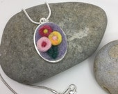 Three flower posy needle felt necklace / pendant hand made one off.