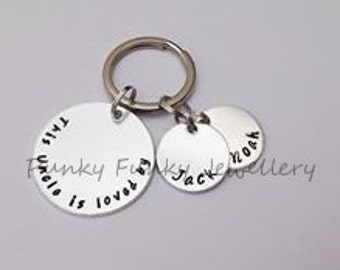 Personalised Uncle keyring - This Uncle is loved by - belongs to - Gift for Uncle - gift for brother - gift from children - from niece