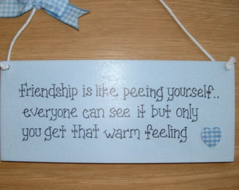 Funny friendship gift plaque. gingham heart. Friends birthday gift