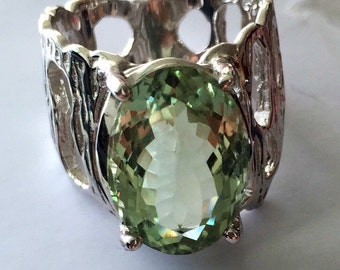 Prasiolite Ring Green Amethyst ring silver 925