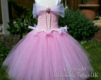 Sleeping Beauty Aroura Inspired Handmade Tutu Dress - Birthday, Party, Pageant, Fancy Dress, Princess