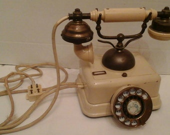 Vintage French rotary dial phone ivory