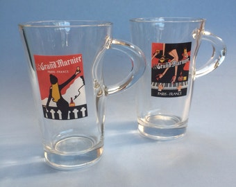 Pair of Advertising Grand Marnier Liquor Coffee Mug Cups
