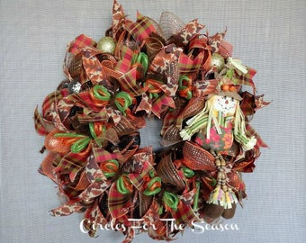 Fall scarecrow deco mesh wreath, autumn wreath, scarecrow