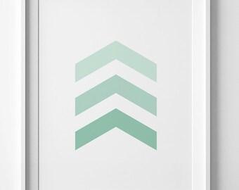 Mint green chevron print, chevron wall art, pastel green print, chevron decor, green wall art, mint chevron printable wall art, mint print