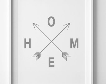 Home print, printable art, affiche scandinave, home arrow print, home print, grey art, arrow art, digital art, downloadable art, grey print