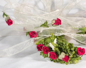 Red rose veil, Bohemian veil, Boho veil, Bridal veil, Wedding veil, Beach wedding, Fairytale veil, Long chiffon veil, Rose haircrown, UK
