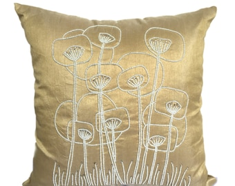 Gold Poppies Flower Pillow Cover Gold Decorative Pillow Abstract Poppies Accent Pillow 1Sizes 14x14 16x16 18x18 20x20 22x22
