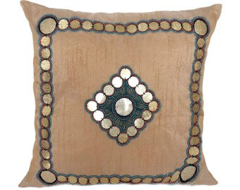 Beige Decorative Pillow Cover Sequinned Pillow Cover Tribal Bohemian Accent Pillow Sizes 14x14 16x16 18x18 20x20 22x22