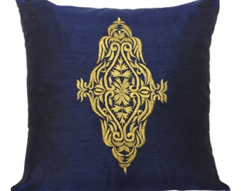 Navy Damask Pillow Cover Navy Blue Gold Damask Pillow Blue Damask Throw Pillow 14x14 16x16 18x18 20x20 22x22 inch