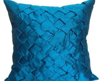Azure Blue Smocking Pillow Azure Blue Shams Azure Blue Decorative Pillow Azure Blue Lattice Pillow Azure Blue Textured Pillow Trellis Pillow