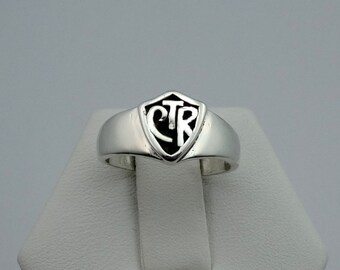 Vintage Sterling Silver CTR Shield Ring #CTRSCWH-L