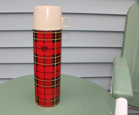 King Seeley Thermos Picnic Camping Red Plaid Vintage Travel Trailer Decor