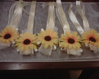 wrist corsage .sunflowers & ribbon