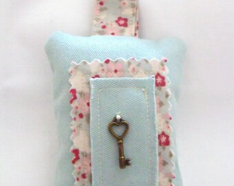 green key ring, key holder, fabric key chain, key fob, plush tilda pink and green floral fabric