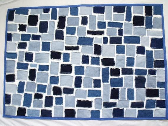 "denim patchwork quilt, denim scrap fabric lap quilt, denim ticker tape throw,  wheelchair quilt  28.5"" x 40.5"""