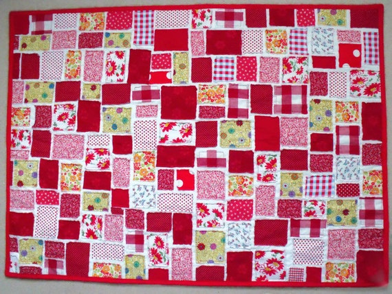 patchwork quilt, scrap fabric lap blanket, ticker tape quilt, red patchwork throw, wheelchair quilt, wall hanging