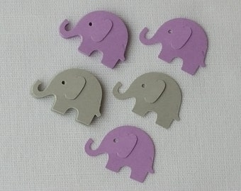 Elephant Confetti Lavender & Grey 50 Pieces, Girl Baby Shower, First Birthday Party Decor, Table Scatter Decoration