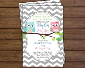 Gender Reveal Owl Invitation