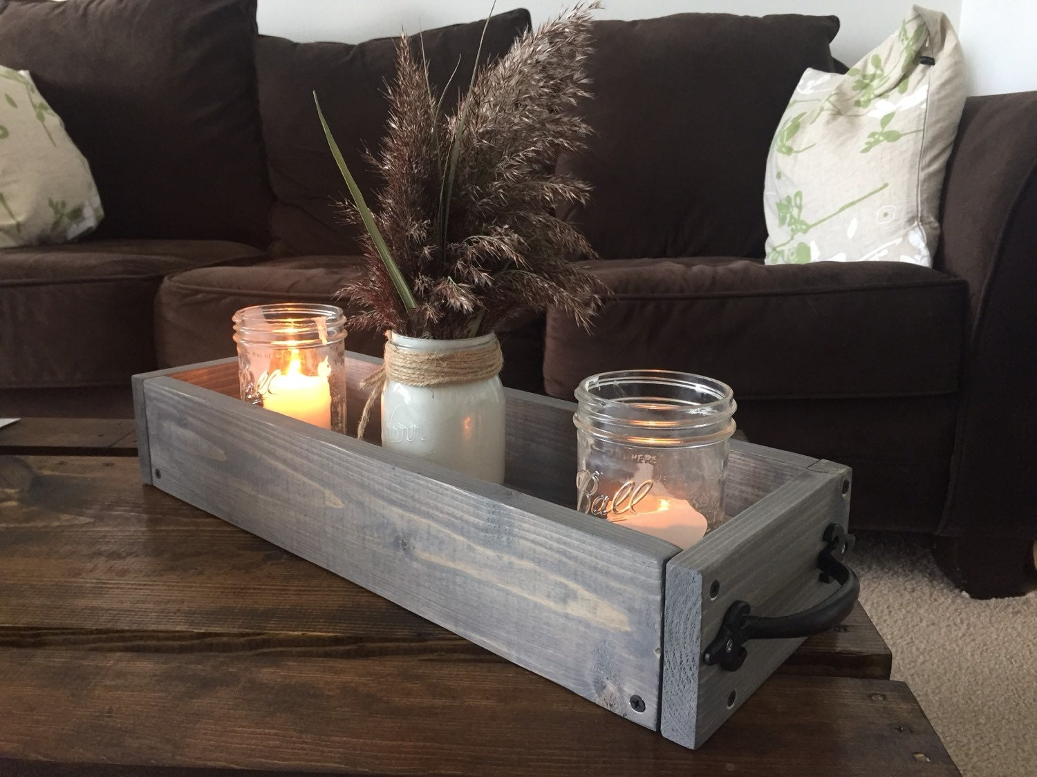 Wood box centerpiece table with handles