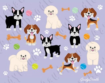 Dogs Clipart - Beagle, Bichon Frise, Boston Terrier