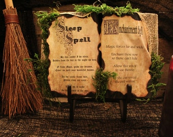 """Halloween Spell Book """"Sleep Spell & Enchantment Spell"""", Halloween Prop, Halloween Decor, Halloween Display, Haunted House, One-Of-A-Kind"""