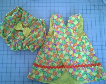 Baby Girl Romper set in citrus pattern size 18 months; finished product