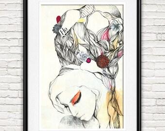 Amy Winehouse poster, Amy Winehouse, original illustration portait, celebrity art, music art print, icon portrait, print, home decor