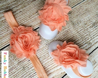 Baby Barefoot Sandals & Headband Gift Set-Peach-Soft Baby Flower Shoes - Newborn Shoes - Baby Shower Gift - Photo Props