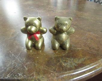 Pair of Solid Brass Teddy Bears.