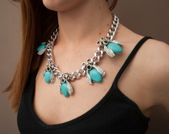 Silver and Turquoise Insect Statement Necklace -UK SELLER