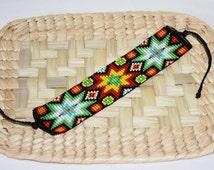 Mandala Bracelet, Huichol Bracelet, Seed Bead Bracelet, Native American Beadwork, Mandala Star, Huichol Jewelry, Hippie Bracelet, Authentic