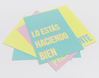 Bright kind cards (you're enough/worth it; you look awesome today, you're doing it right, I'm glad you were born, you can do it) - Set of 6