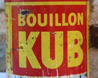 French Vintage Storage Tin. Bouillon KUB. French Vintage Shabby Chic