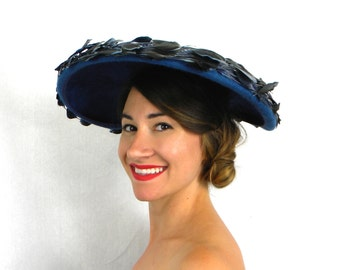 50s Blue Feather Hat | Wide Brim Mohair Feather Hat | Platter Saucer Hat