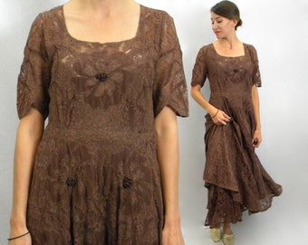 40s Brown Floral Lace Evening Dress  | Large