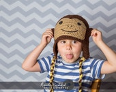 Crocheted monkey hat, knitted chimp beanie for baby toddler kid adult, unisex