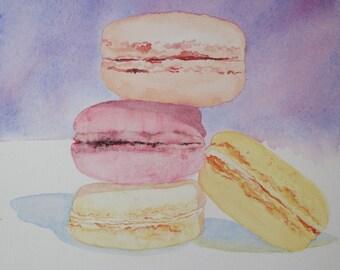 aquarelle : quatre macarons multicolores