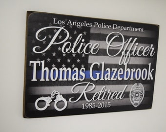 Police Officer Retirement Sign, Police Retired Sign, Police Gift, Officer Gift, Police Decor, Police Officer Sign, Blue Line - Herosigns