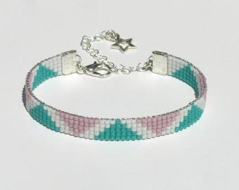 Pyramid Miyuki Delica Beaded Bracelet Jewelry Beads Mint Rose White