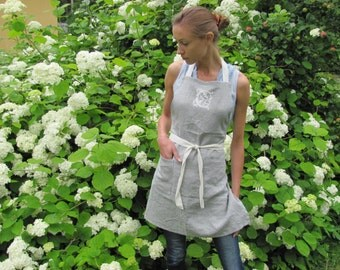 Handmade Personalized Linen Apron; Dove Gray Linen Cafe Apron; Eco - friendly Washed Apron; Linen Apron with Initial: Custom Apron