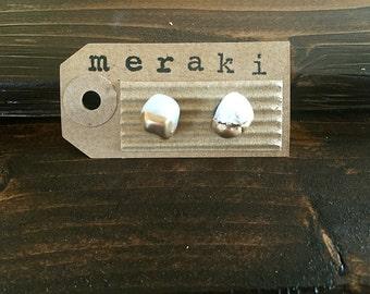 Clear/White Quartz / Gold Leaf Stud Earrings