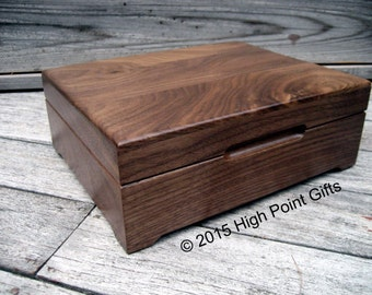 Keepsake Box - Custom Engraved Wood Box - 8x10 - Walnut Keepsake Box - First Communion -Personalized Wooden Box -  Engraved Valet Box