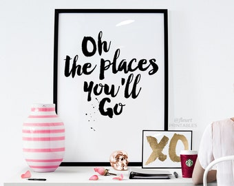 giant oh the places you 39 ll go sign. Black Bedroom Furniture Sets. Home Design Ideas